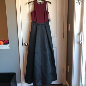 Burgundy and Dark Grey Xscape Formal/Prom Dress